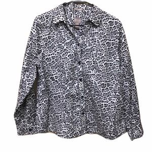 Chicos Blouse Top Animal Print Button Up S…